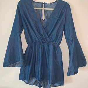 Chambray Bell Sleeve Romper